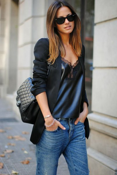 black blazer with navy deep v neck silk and lace long tank top