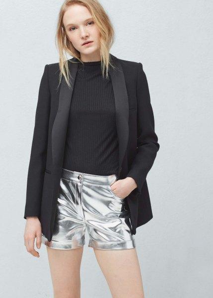 black blazer with silver metallic shorts