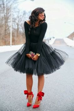 black boat neck long sleeve top with mini tutu dress