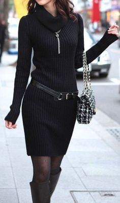 black cowl neck ribbed belted mini sweater dress
