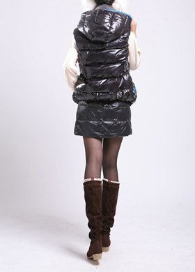 black down hooded vest with matching mini skirt