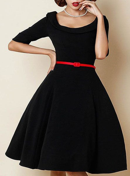 black half sleeve fit and flare belted knee length dress
