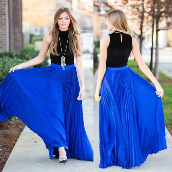 black halter top with pleated maxi skirt