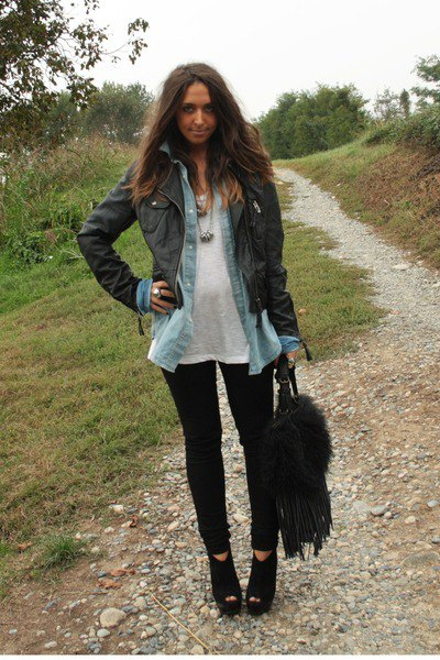 black leather jacket with chambray shirt and open toe wedge booties
