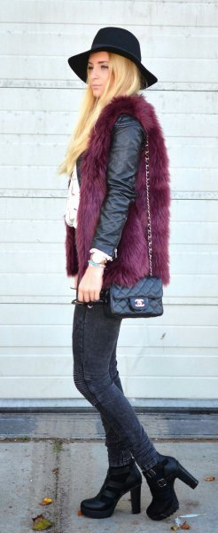 black matte leather jacket with faux fur vest