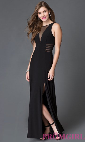 black maxi semi sheer high split dress