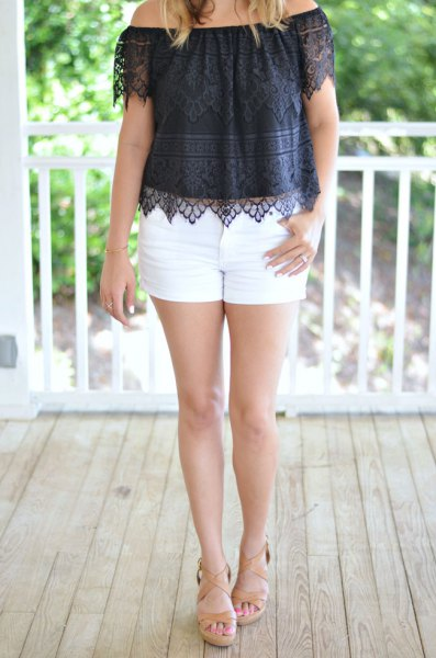 black off the shoulder lace top with white mini shorts