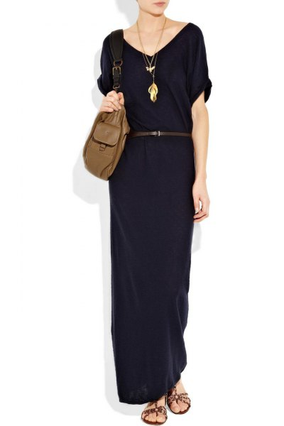 black short sleeve maxi belted cotton shift dress