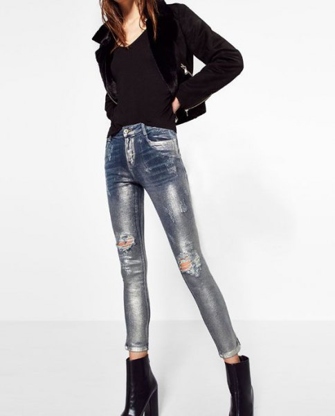black sweater and matching blazer