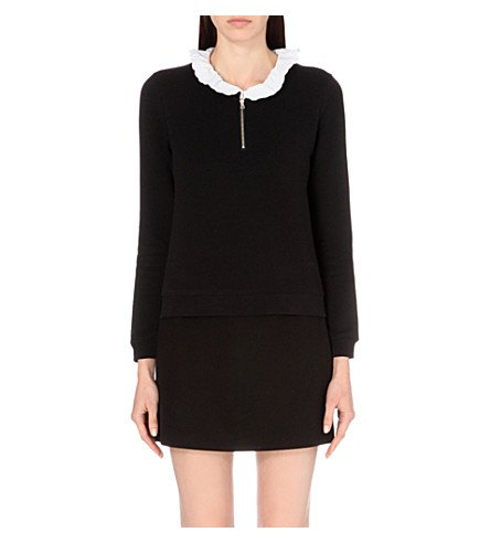 black sweater dress with white ruffle collar