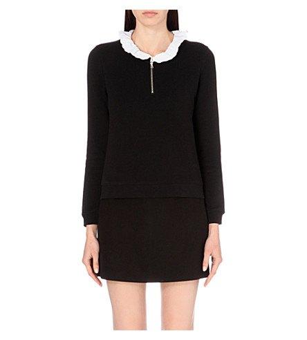black sweater dress with white ruffle collar