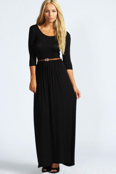 black three quarter sleeve scoop neck belted maxi dress