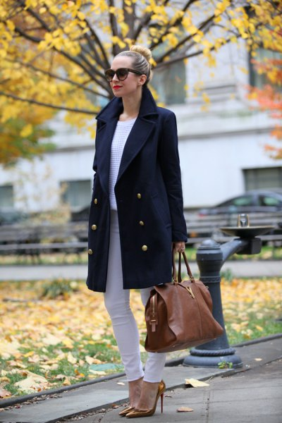black wool coat with light grey skinny jeans and bronze heels