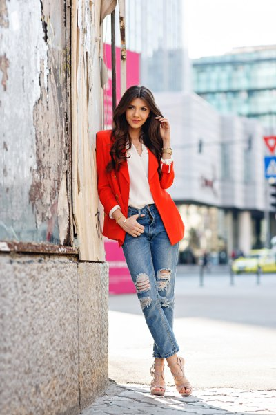 blazer with white chiffon v neck blouse and cuffed boyfriend jeans