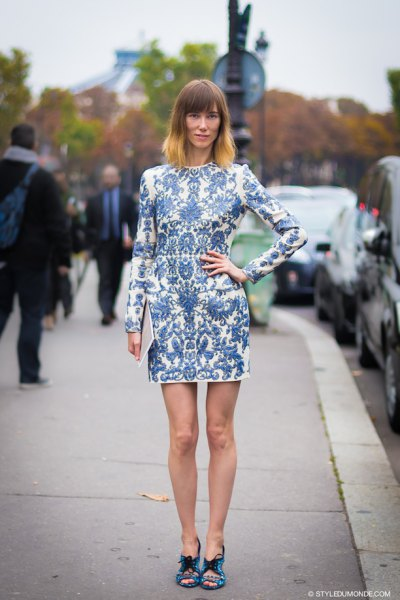 blue and white long sleeve printed mini dress
