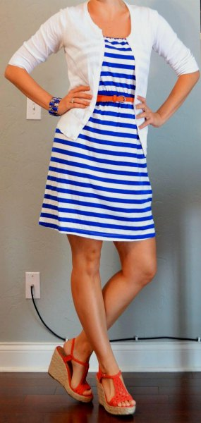 blue and white striped mini belted dress with cardigan
