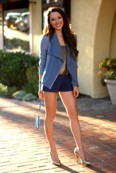 blue blazer with mini shorts with bronze heels