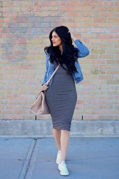blue denim jacket with black and grey striped bodycon midi dress
