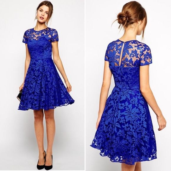 blue fit and flare knee length lace dress