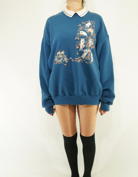 blue floral printed collared sweatshirt dress