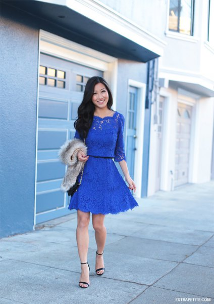 blue half sleeve lace gathered waist mini skater dress