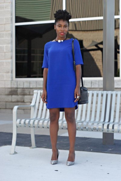 blue half sleeve t shirt dress with silver heels