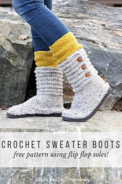 blue jeans with yellow and white color block sweater boots