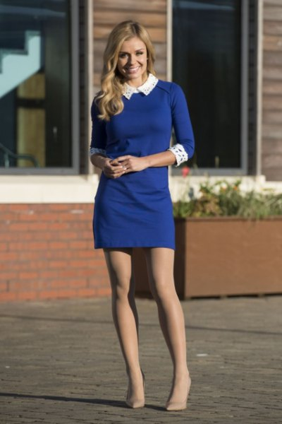 blue three quarter sleeve sheath mini dress with white collar and cuffs