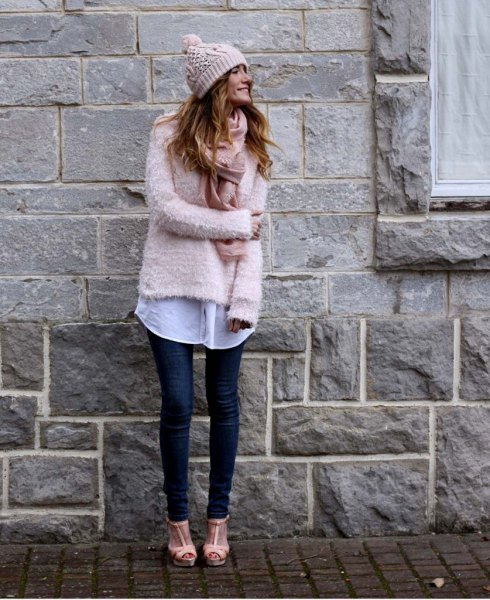 blush fuzzy sweater with white long boyfriend shirt