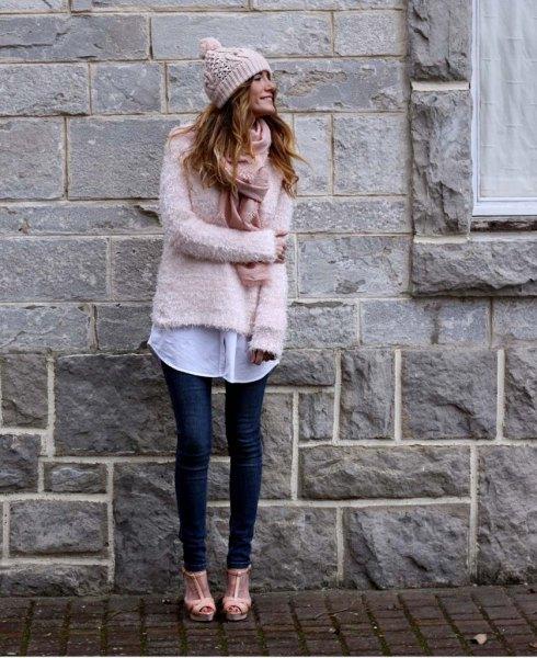 blush fuzzy sweater with white long boyfriend shirt