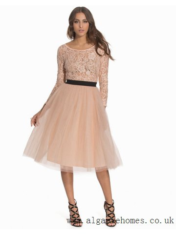 blush pink lace belted tutu midi dress