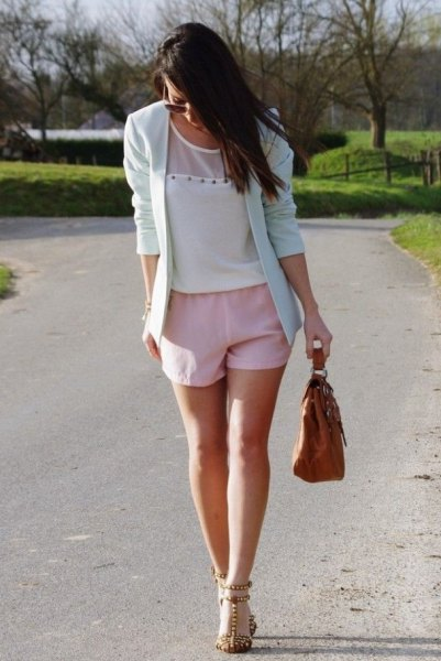 blush pink shorts with matching blazer and chiffon blouse