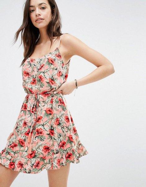 blush pink spaghetti strap gathered waist mini skater dress