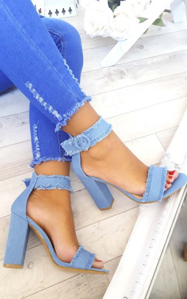 bright blue skinny jeans with white blouse and light blue denim heels