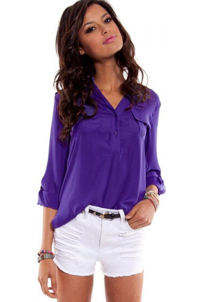 bright purple button up shirt with white mini shorts