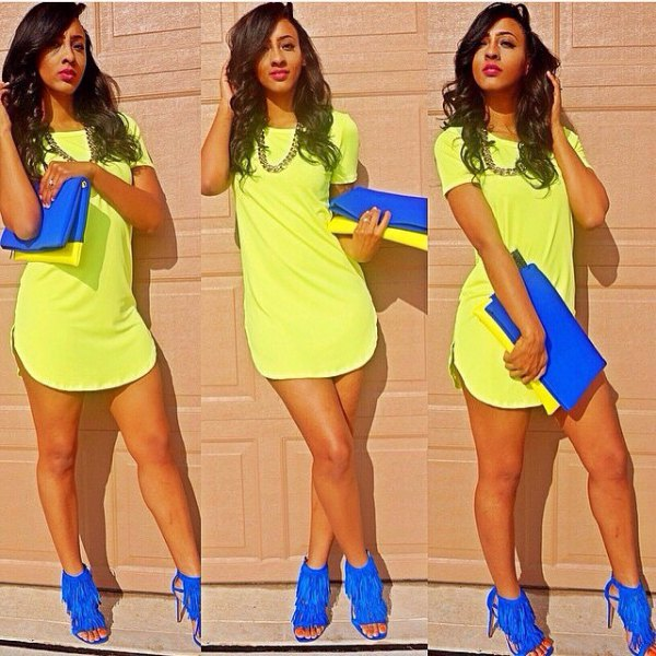bright yellow t shirt dress with royal blue fringe heels