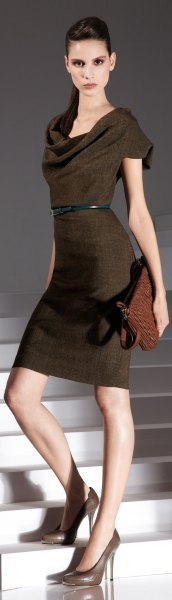 brown cowl neck belted midi dress with clutch bag