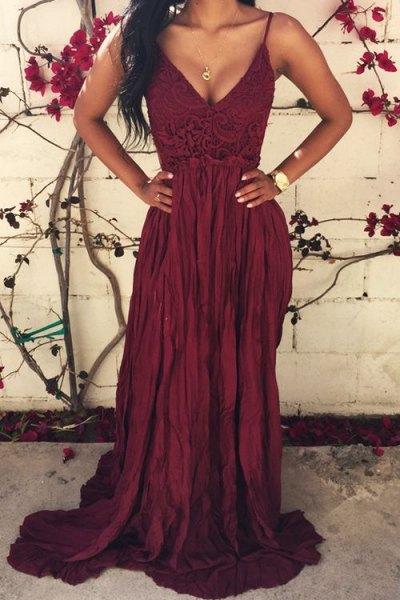 brown deep v neck maxi flowy bridesmaid dress