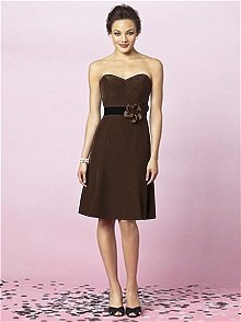 brown fit and flare strapless knee length bridesmaid dress