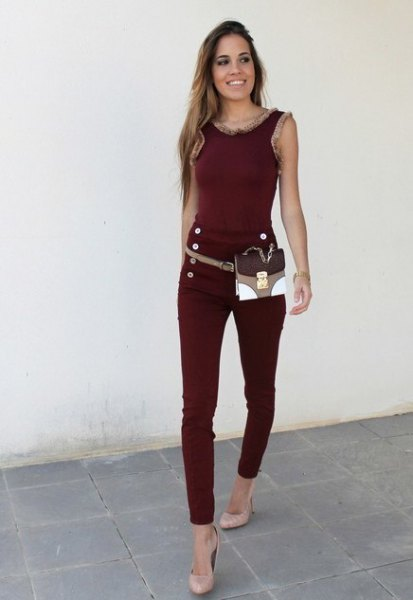 brown skinny jeans with matching tank top