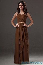 brown tank belted maxi flared bridesmaid dress