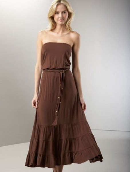 brown tube belted maxi bridesmaid dress