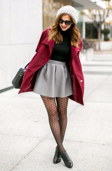 burgundy long coat over mini skirt