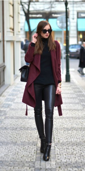 burgundy trench coat with black turtleneck sweater and leather leggings