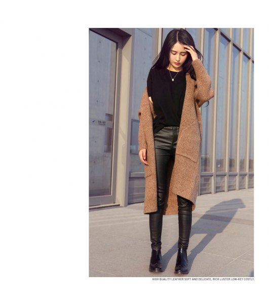 camel long sweater coat with black leather leggings