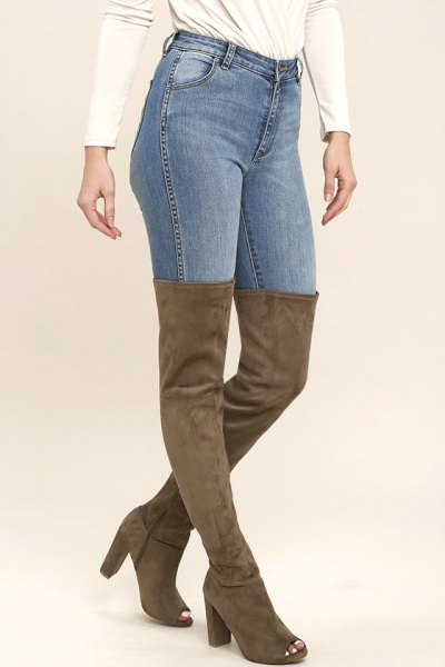 camel over the knee suede open toe boots with skinny jeans