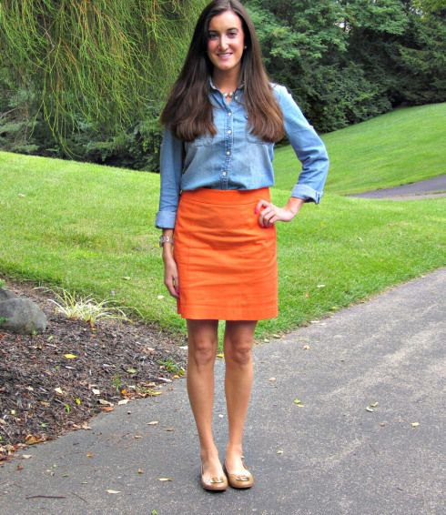 chambray shirt with mini skirt and pale pink sandals