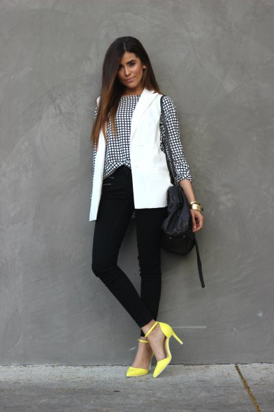 checkered shirt with white vest and yellow heels