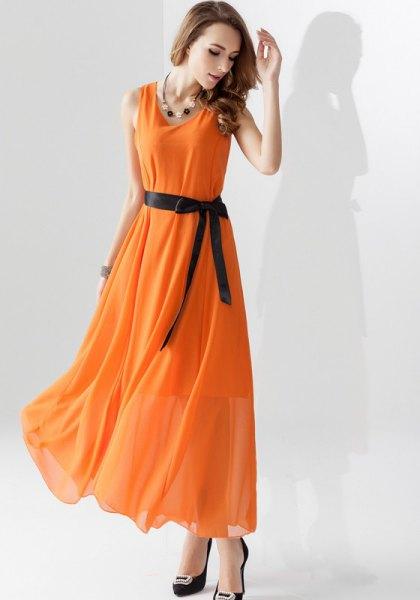 chiffon maxi flared dress with ribbon belt