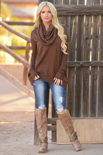 chocolate brown cowl neck sweater dress with jeans